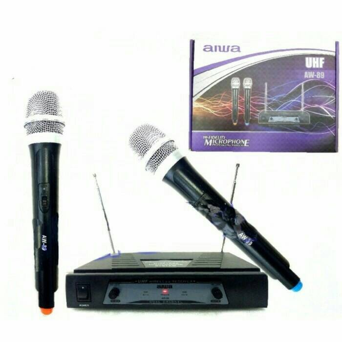 harga Mic wireless aiwa aw 89 uhf-hitam double mic respon gojek Tokopedia.com