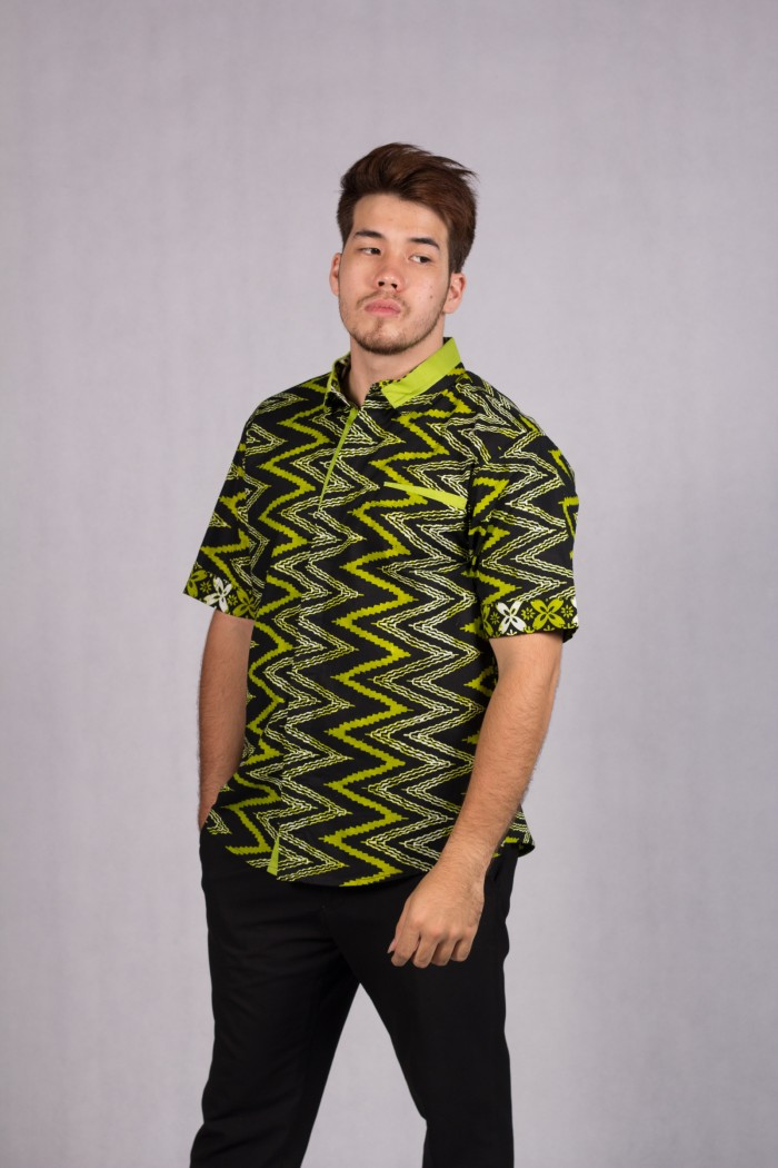 Jual Baju Pesta Pria Kemeja Batik Modern Model Batik Solo Zig Zag