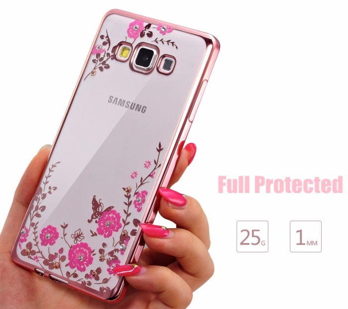 Foto Produk Samsung J7 Core 2015 soft case casing back cover ultrathin TPU FLOWER - Gold dari Case Pedia