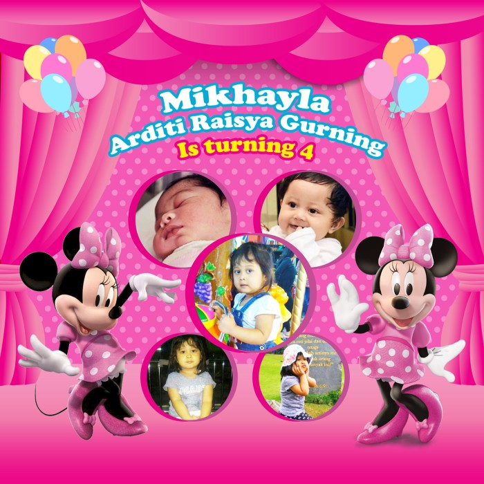 Backdrop Banner Ulang Tahun Mini Mouse Perlengkapan Ultah