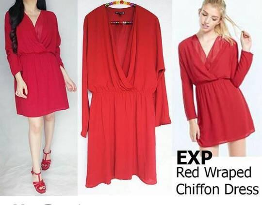 harga Baju branded murah express red wraped chiffon dress original premium Tokopedia.com