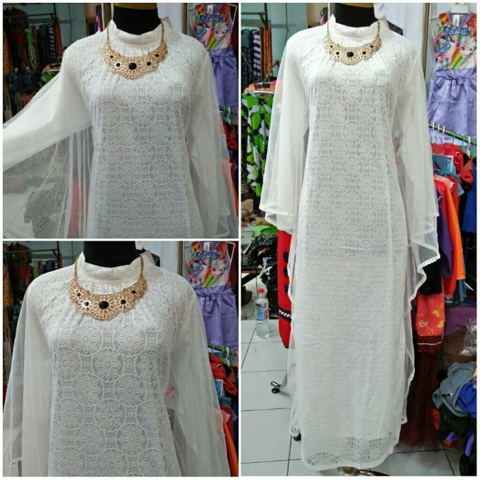 Jual Gamis Putih Brokat Kelelawar Kab Kudus Maharani Fashion Olshop Tokopedia
