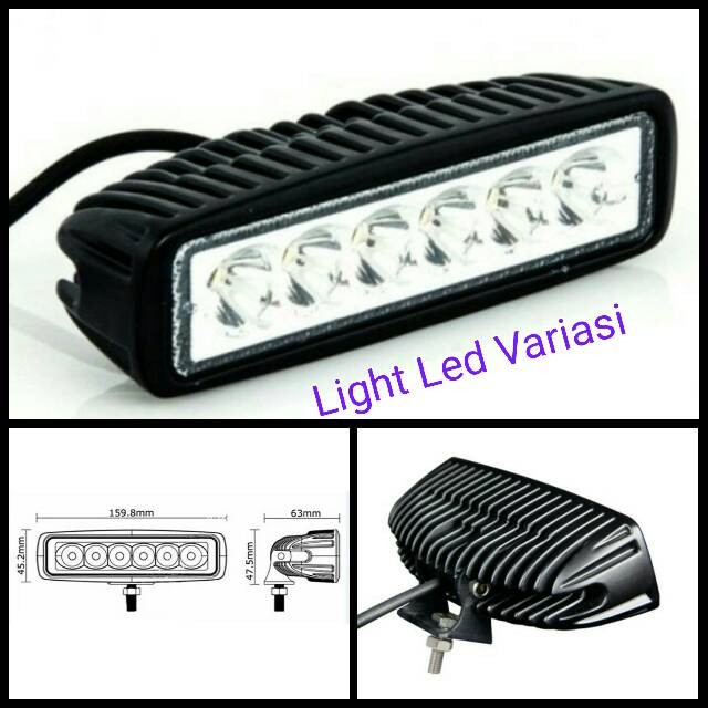 harga 18w led bar offroad drl off road work light mobil motor Tokopedia.com