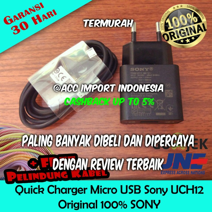 Charger Sony UCH12 UCH-12 Support Quick Fast Charging 100% Original