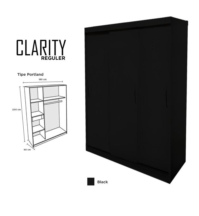 harga Lemari pakaian 3 pintu minimalis clarity door sliding hpl hitam black Tokopedia.com