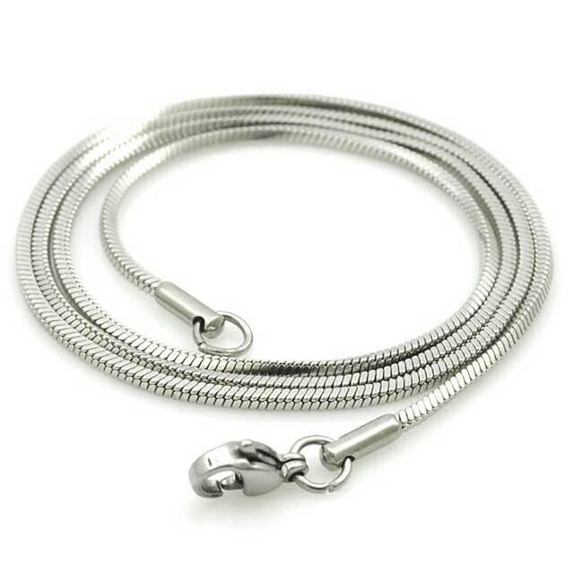 Kalung Pria Wanita Titanium Silver Single Simple