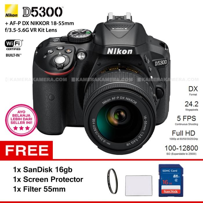 harga Nikon d5300 + af-p 18-55mm + filter 55mm + screen guard + sandisk 16gb Tokopedia.com