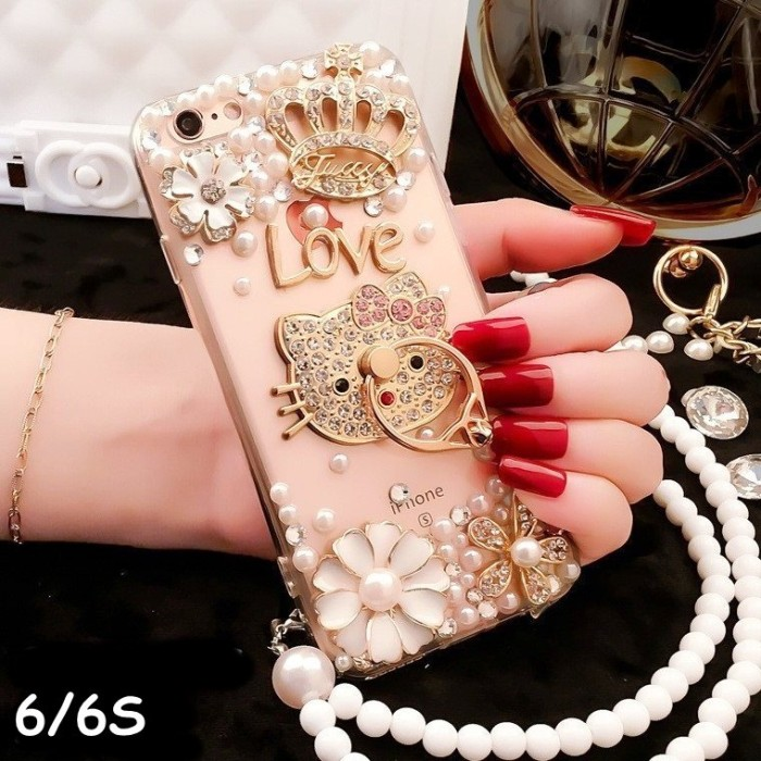 harga For iphone 6/6s - luxury diamond pearl crown bling ring softcase Tokopedia.com