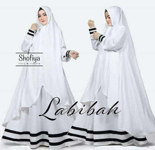 Jual Labibah Syari Gamis Putih Polos Gamis Katun Jumbo Baju