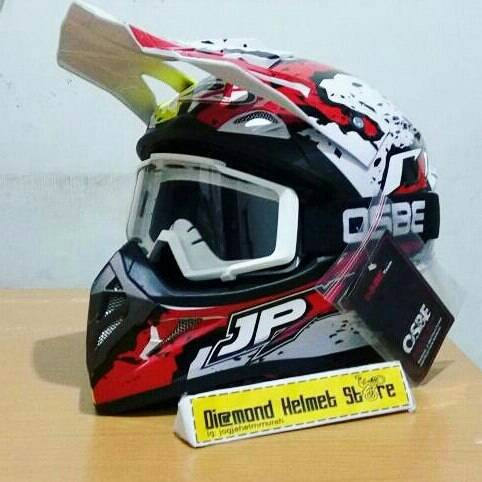 Paket helm cross jpx flag burn out white goggle osbe white