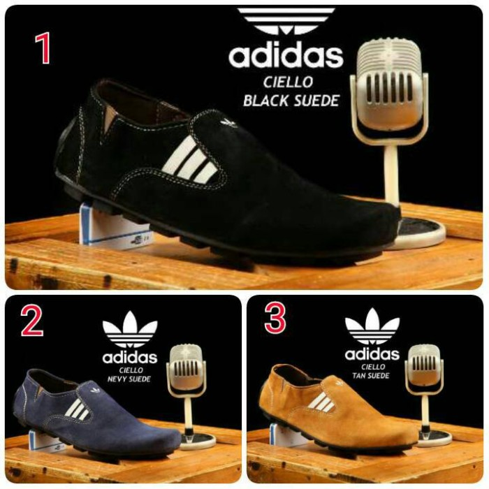 Sepatu mocassin simpel slipon swede kulit grade original adidas ciello