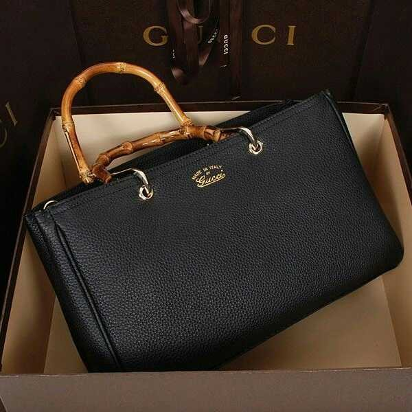Tas Gucci Bamboo Handbag Black Leather
