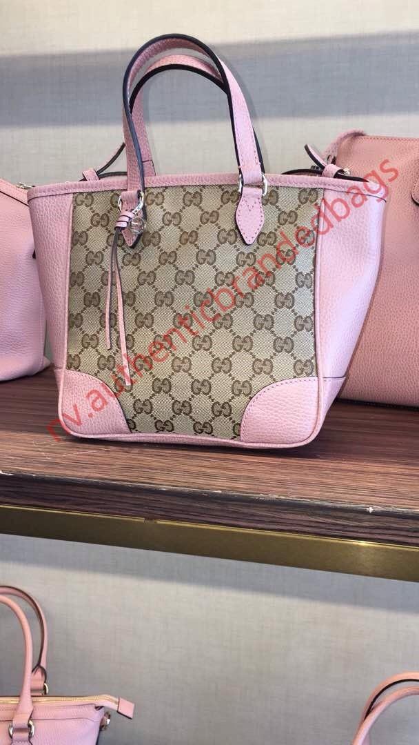 104dbf9bd Tas Gucci Bree Guccissima GG Canvas Leather Tote Pink Strap Asli Ori