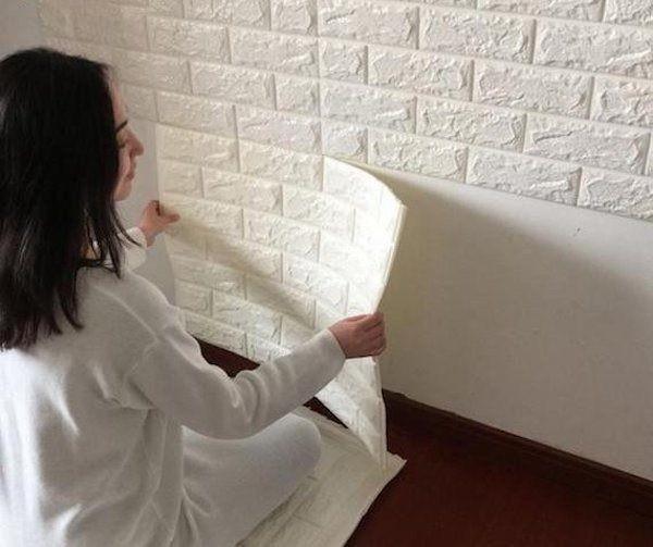 jual wall sticker wall paper 3d motif bata putih brick - pop home
