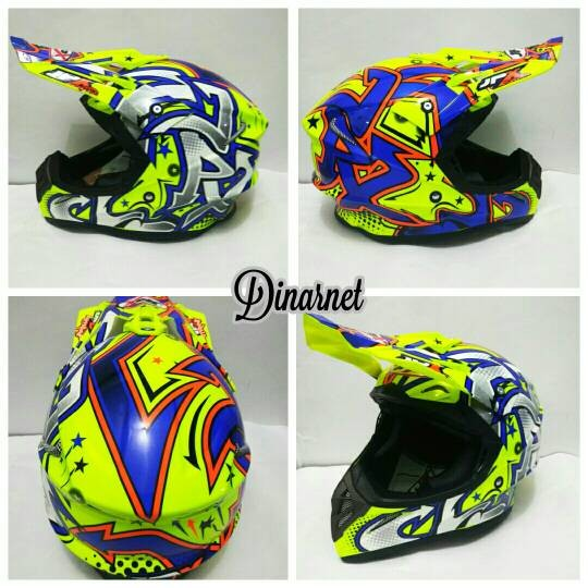 Helm cross jpx full face x3 gravity yellow gloss white