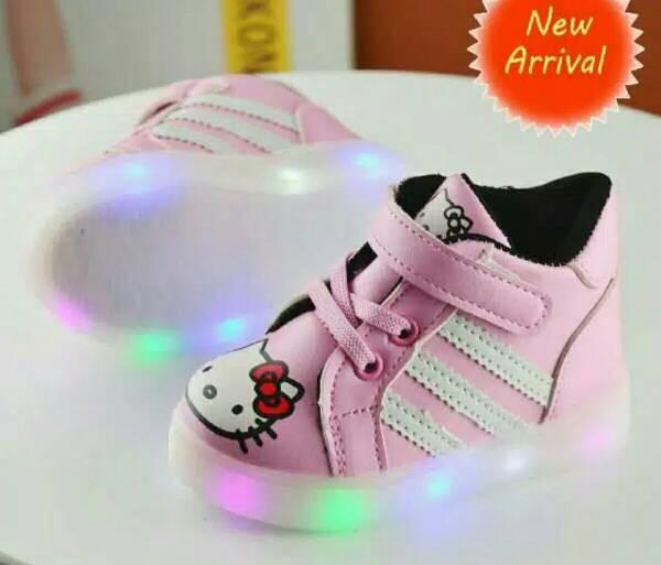 harga Sepatu anak led / sepatu lampu / hello kitty led boot pink size 21-30 Tokopedia.com