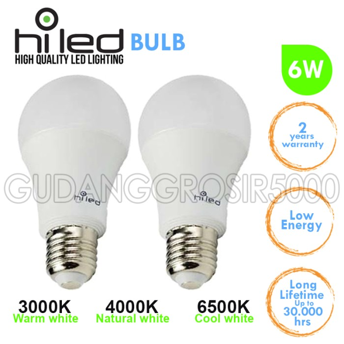 harga Lampu led / lampu bohlam led hiled 6 watt a60 cool white (fl128905) Tokopedia.com