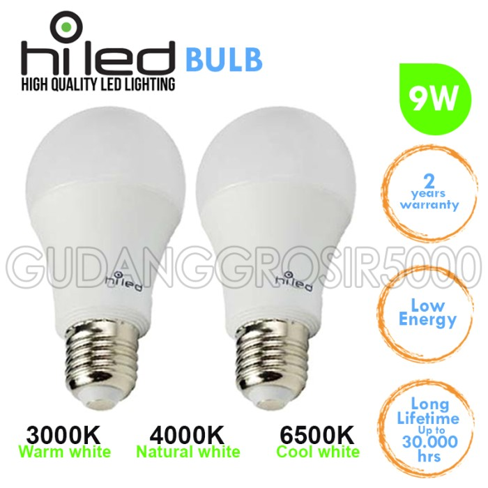 harga Lampu led / lampu bohlam led hiled 9 watt a60 cool white fl128909 Tokopedia.com