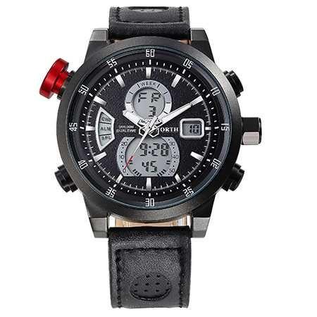 harga Jam tangan north 6015 original kulit dual time hitam Tokopedia.com