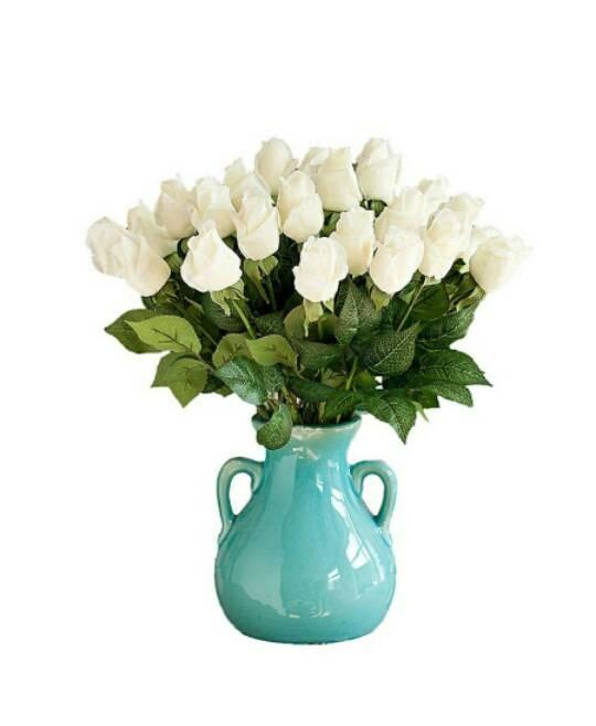 harga Bunga mawar artificial latex import kuncup - putih/ white Tokopedia.com