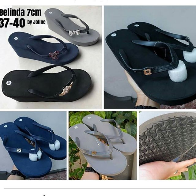 Sandal wedges belinda dengan pin  popits kw f6f03a1830