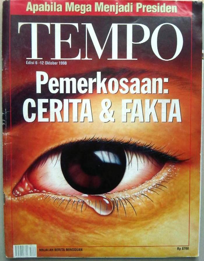 Tempo edisi perdana setelah dibredel empat tahun (sumber foto: https://www.tokopedia.com/lapakmainstream/tempo-edisi-perdana-oktober-1998-pemerkosaan-cerita-fakta)