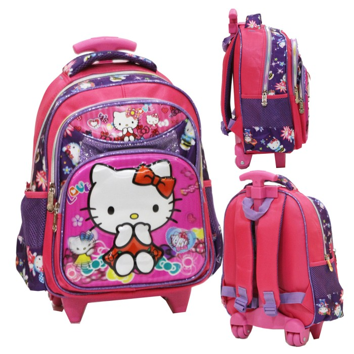 Tas Trolley TK - Hello Kitty 5D Timbul Hologram 2 Kantung - ungu