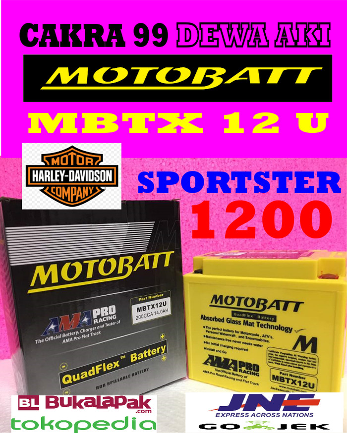 harga Aki harley davidson sportster 1200 motobatt mbtx12u quadflex ytx12bs Tokopedia.com