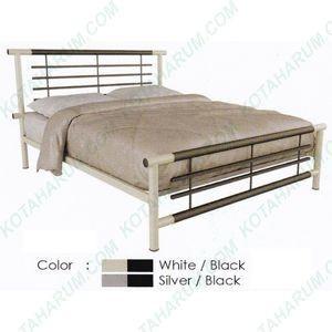 Ranjang bed besi double queen no 2 orbitrend libra 160 abu putih hitam