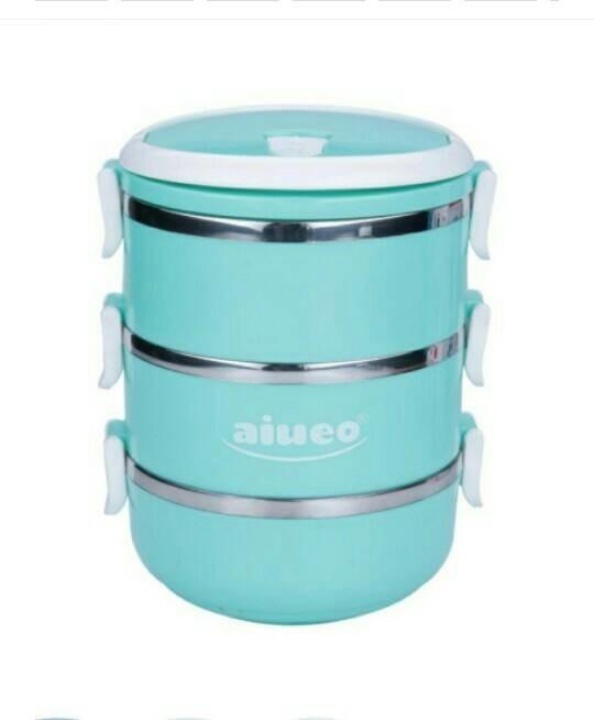Peralatan Dapur | Aiueo Eco Lunch Box - Rantang 3 Susun Glossy Biru