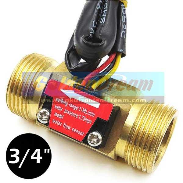 harga New: water flow sensor 3/4  kuningan aliran air cairan liquid 1-30l/mi Tokopedia.com