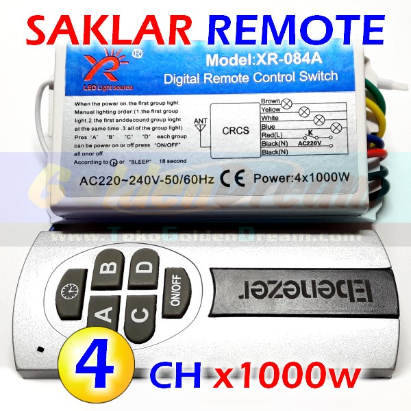 harga Hq - saklar remote 4x 1000w wireless switch ac 220v 4 channel rf remot Tokopedia.com