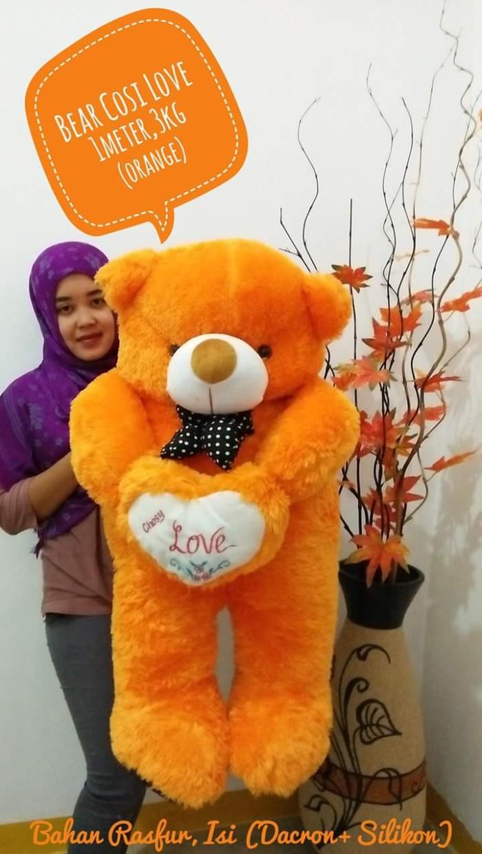 Jual Boneka Beruang Teddy Bear Cosy Love Jumbo Orange Orens Emas Loved