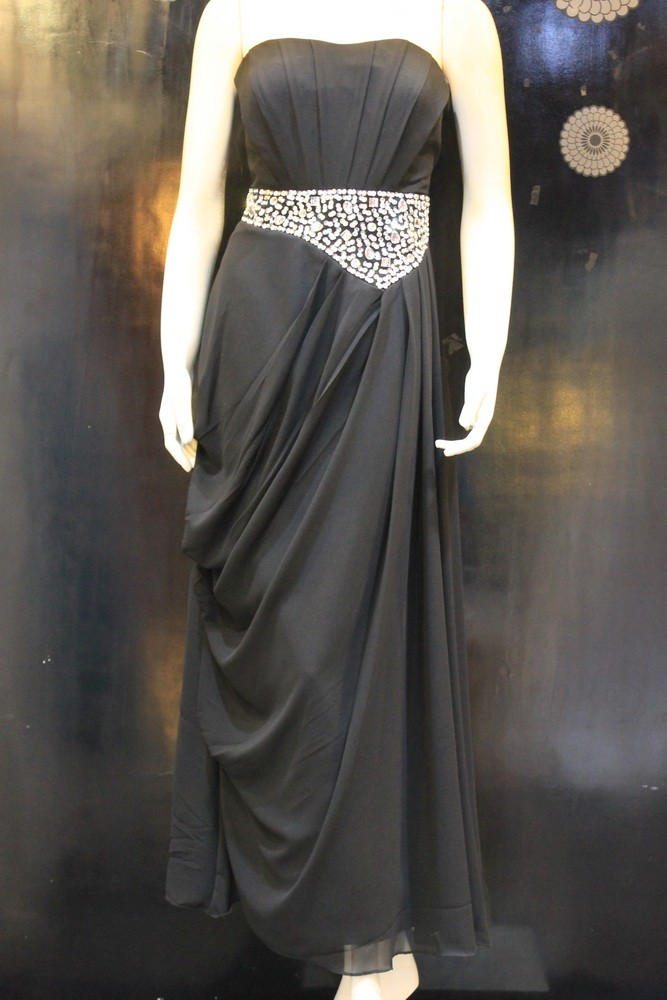 Jual Long Dress Baju Pesta Modern Hitam Elegan Gaun Pesta