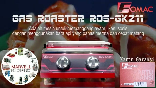 kompor panggang tanpa asap/Roaster sosis(BBQ) 2 head Fomac Ros-gk211
