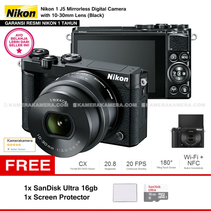 harga Nikon 1 j5 (black) resmi + 10-30mm lens + sandisk 16gb + screen guard Tokopedia.com