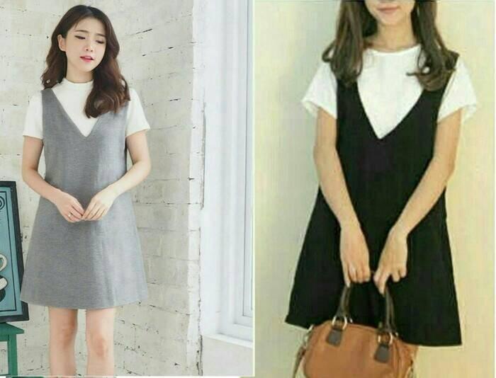 Jual Dress Wanita Model Gaya Korea Terbaru Terkini Modis Kekinian