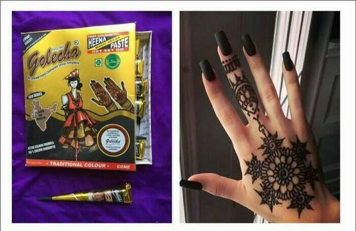 Jual Golecha Henna Gold Series Warna Hitam Black Cone Henna Hena I