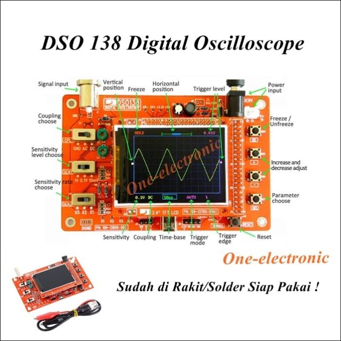 Digital oscilloscope osiloskop kit dso138 siap pakai bawah