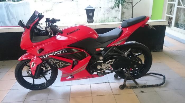 Jual Kawasaki Ninja 250 Tahun 2008 Warna Merah Full Modifikasi Dki