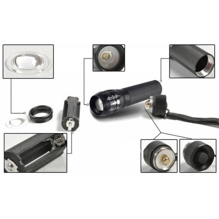 Senter Kecil Senter Sepeda Senter LED Cree Q5 2000 Lumens 3 x AAA