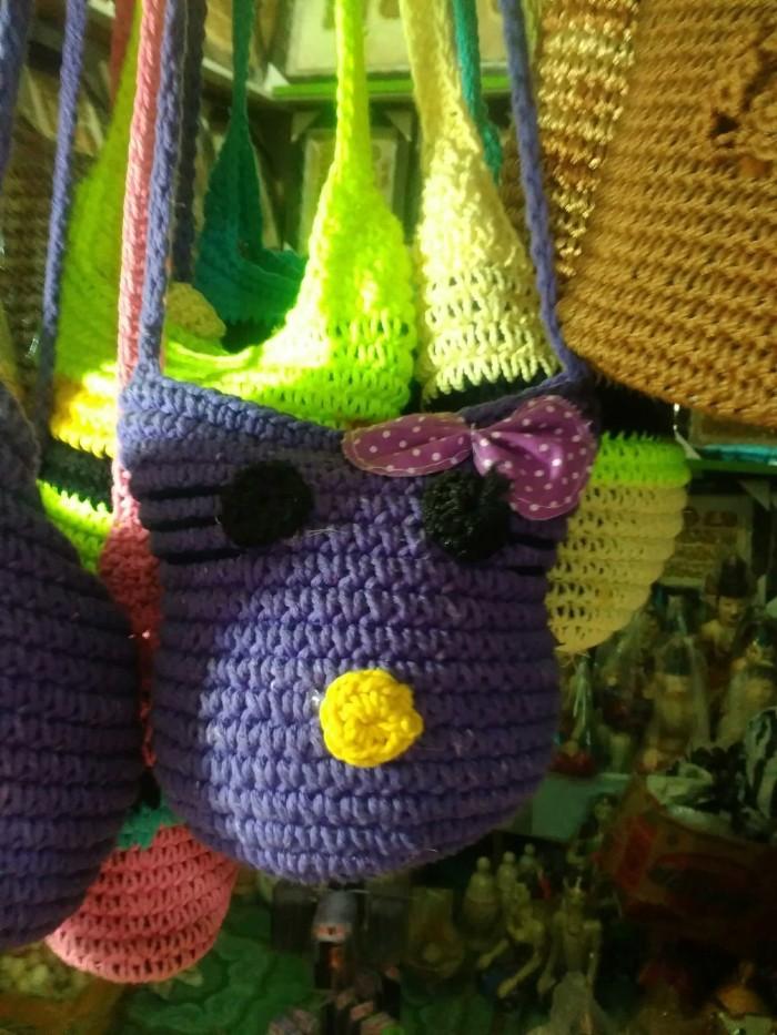 Foto Produk Tas Rajut Selempang Mini Bentuk Hello Kity - Tas Anak dan Remaja dari Toko Candi Prambanan