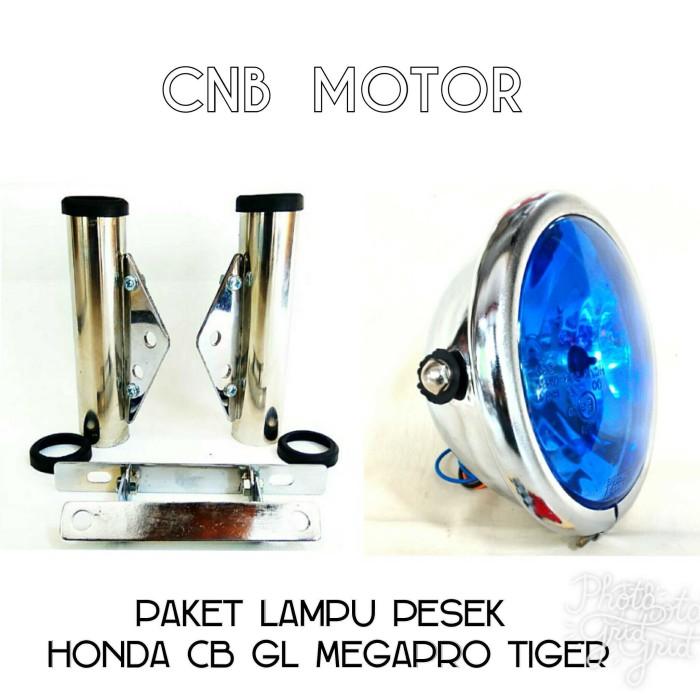 harga Paket lampu pesek jute cb gl megapro tiger biru + nopol chrome Tokopedia.com