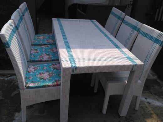 harga Ujiset 6 kursi meja + makan 160 x 80 cm rotan sintetis shabby Tokopedia.com