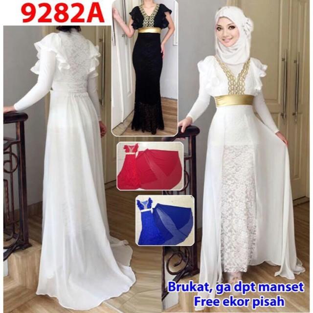 harga Long dress ekor 9282a/ baju pesta/baju muslim/ baju brokat Tokopedia.com