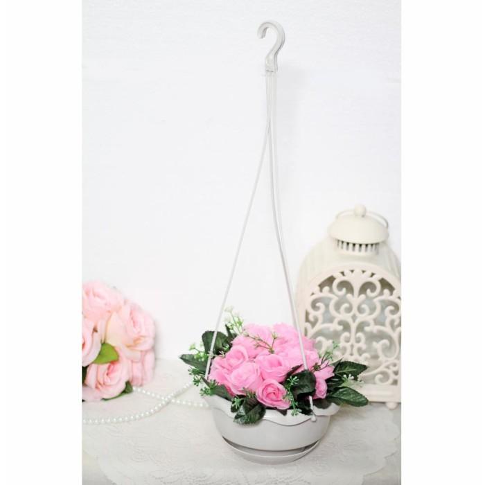 harga Bunga plastik hias artificial artifisial mawar + pot gantung shabby a4 Tokopedia.com