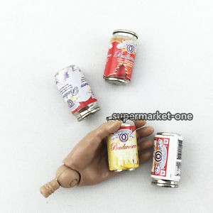 1//6 Scale Mini Budweiser Beer Can Model For 1:6 Action Figure Scene 4 Pcs small