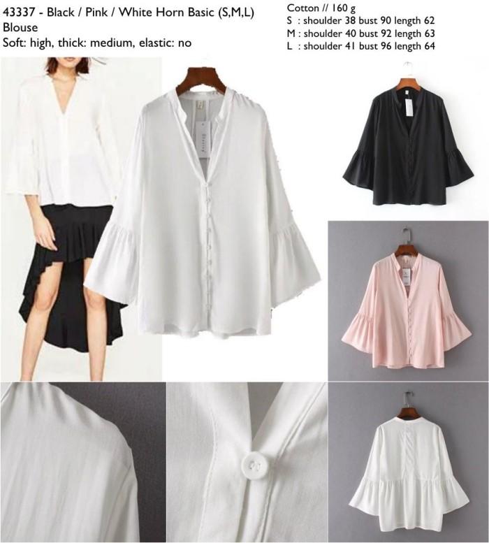Foto Produk 43337 Horn Basic Blouse / Blouse Hitam Putih Pink dari XineShop