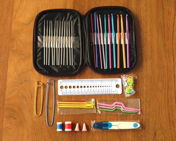 Crochet set/set alat rajut/crochet kit lengkap