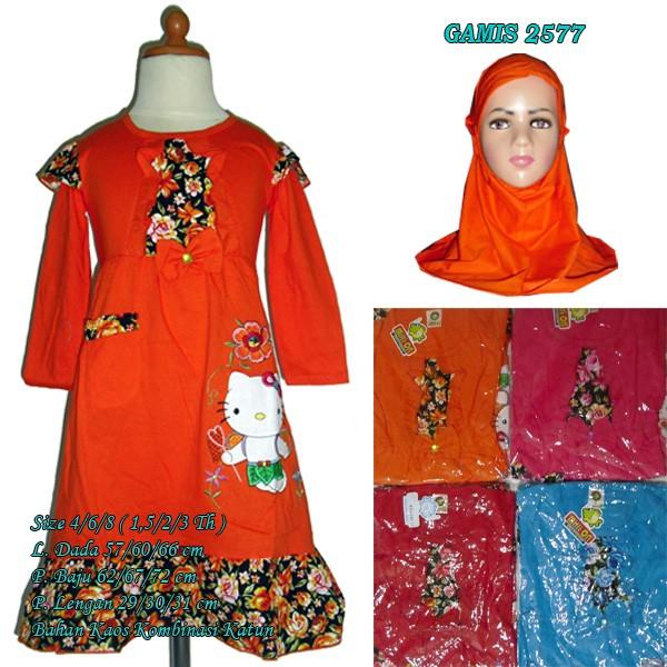 Jual Baju Muslim Gamis Anak Perempuan 1 1 5 Th Bahan Kaos Katun